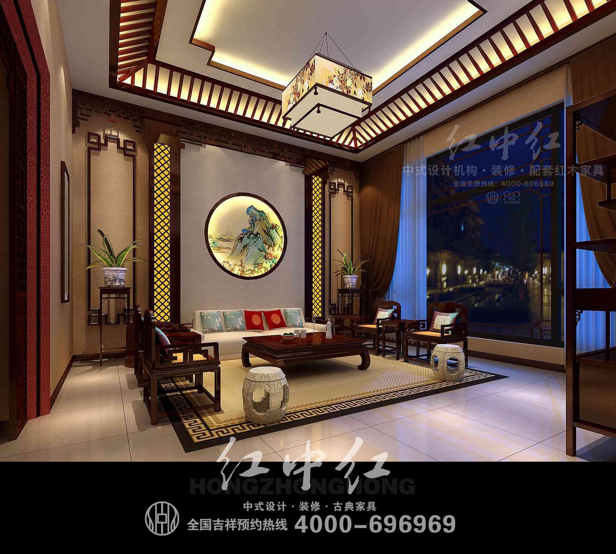 苏州中式别墅装修效果图——茶室