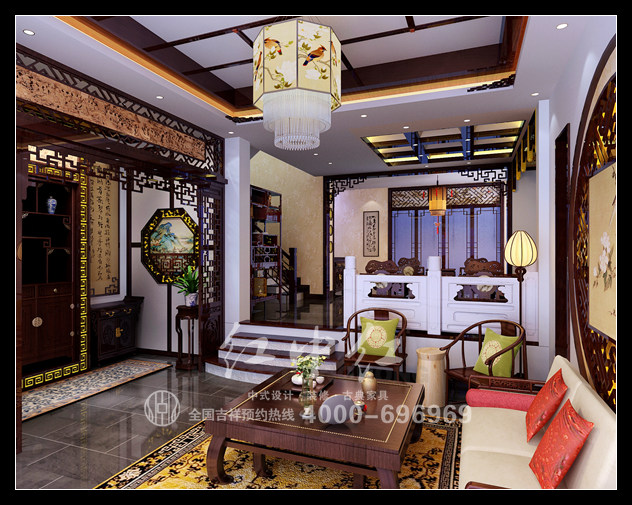 新中式中式家装效果图——书房   设计师浓重的设计色彩来自于传统的文化内涵设计,明亮色调的天花板为沉稳的韵味拓展着想象的空间。让浓重的文化底蕴彰显时代的鲜活意义,让现代的文化内涵得以沉淀,并得以积极而美好地升华。  新中式中式家装效果图——卧室   设计师独特的设计理念让传统的文化内涵与现代高雅的生活气息完美结合。室内精心地设计将木色的优雅与厚重的淳朴渗透到现代生活的装饰风格之中,那种家的温暖与安定叙述着爱的意义